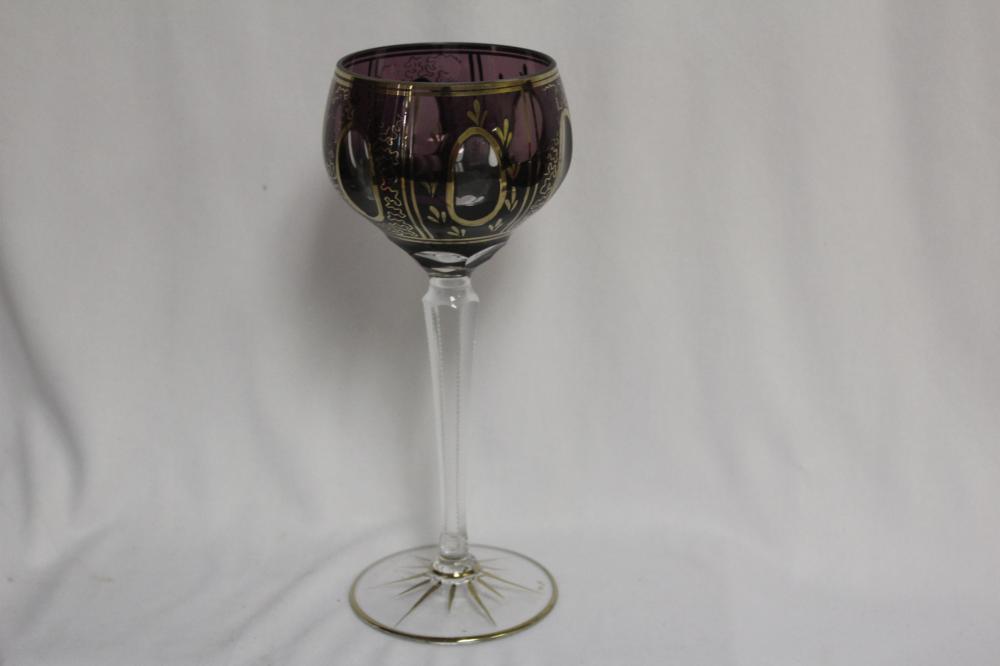 A Cut Glass Amethyst Color Goblet