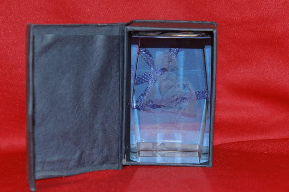 A Hologram Glass Paperweight