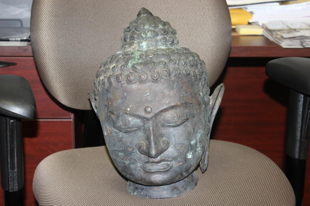 Antique Chinese Bronze Buddha Head