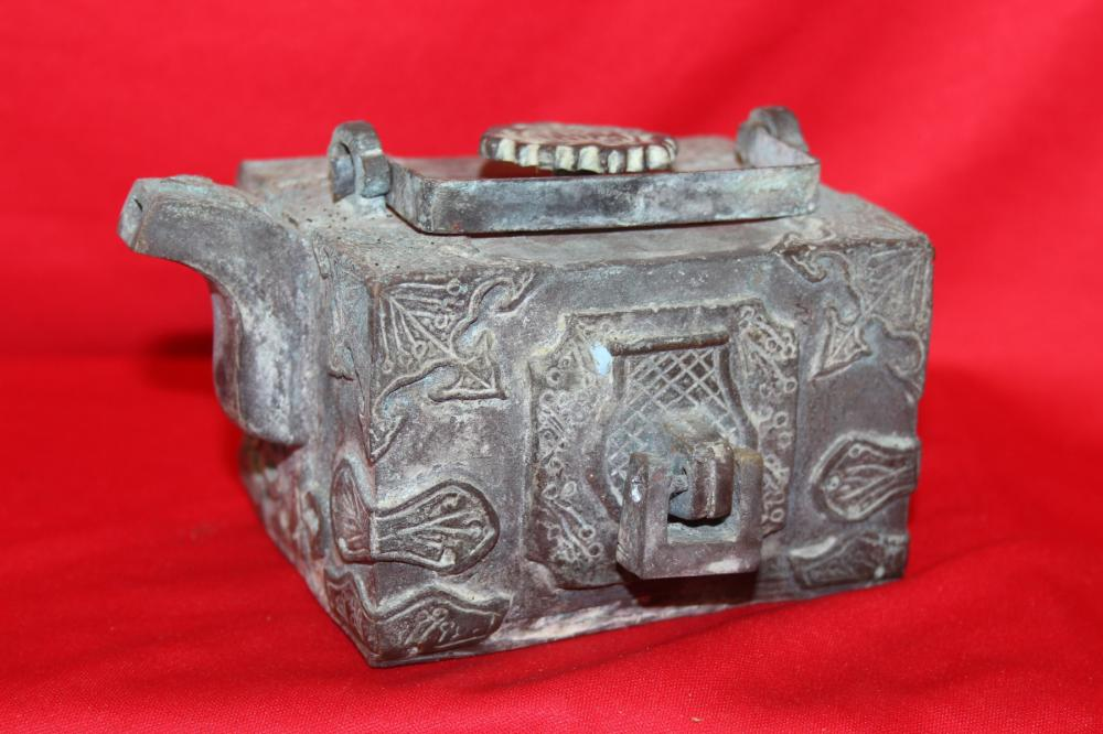 A Chinese Bronze or Metal Teapot