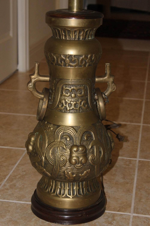 Antique / Vintage Large Chinese Bronze Lamp