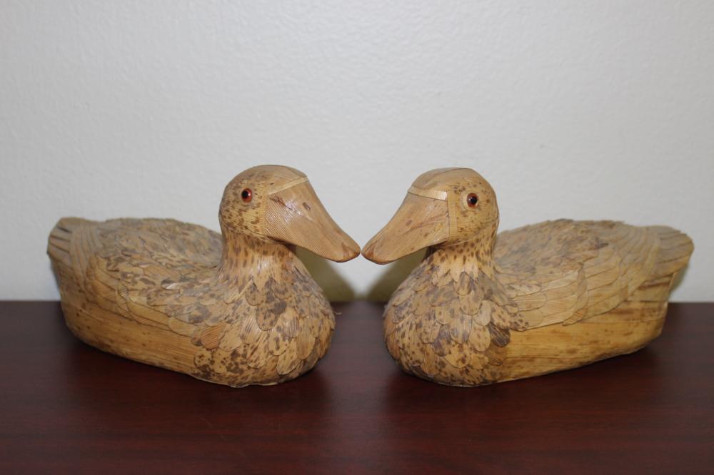 A Pair of Rattan Duck Decoys