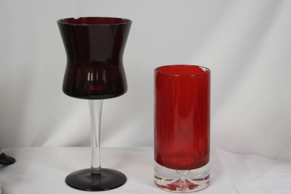 Two Ruby Red Glass Articles