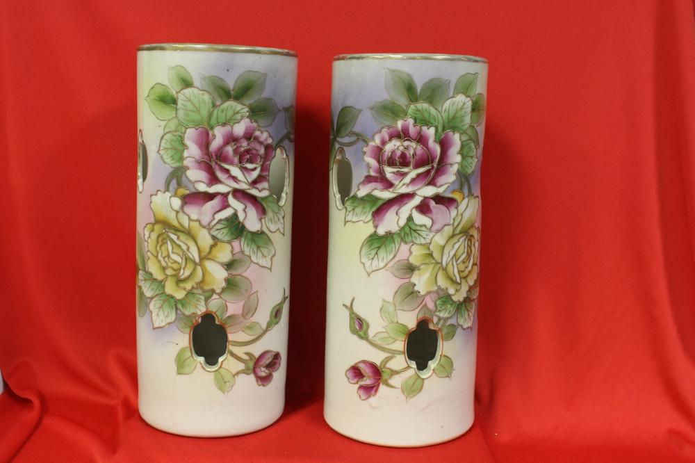 A Pair of Chinese Hat Vases