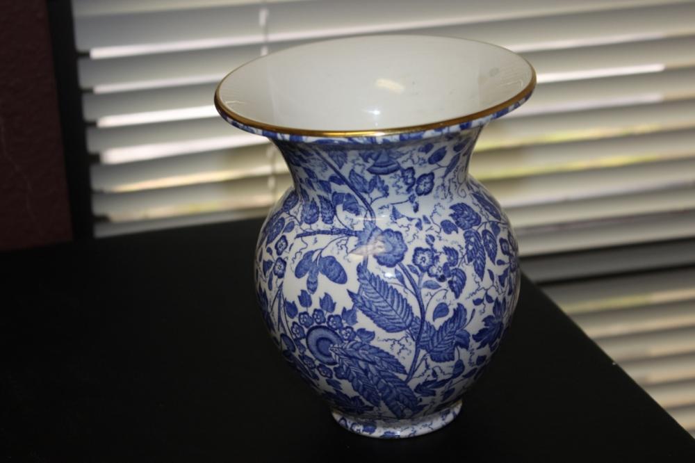 "A Waechtersbach ""Manila"" Antique German Blue and White Vase"