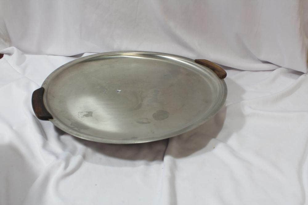 A Silverplated Wooden Handle Tray
