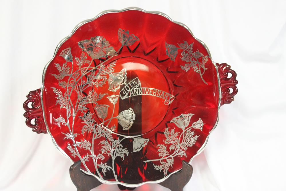 A Ruby Red Silver Overlay Platter