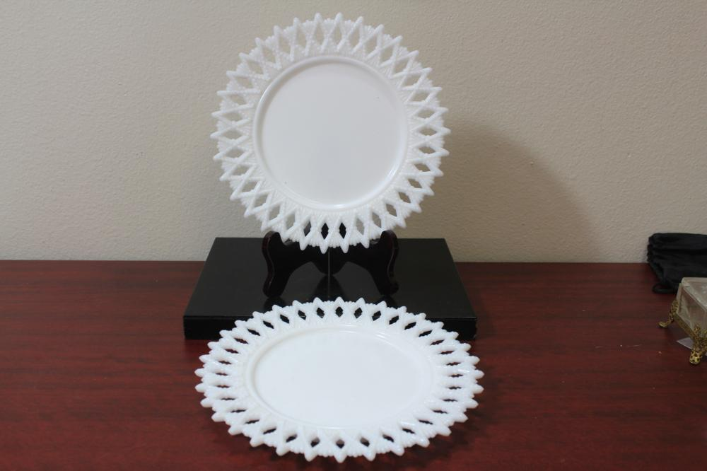 A Pair of Milk Glass Plates