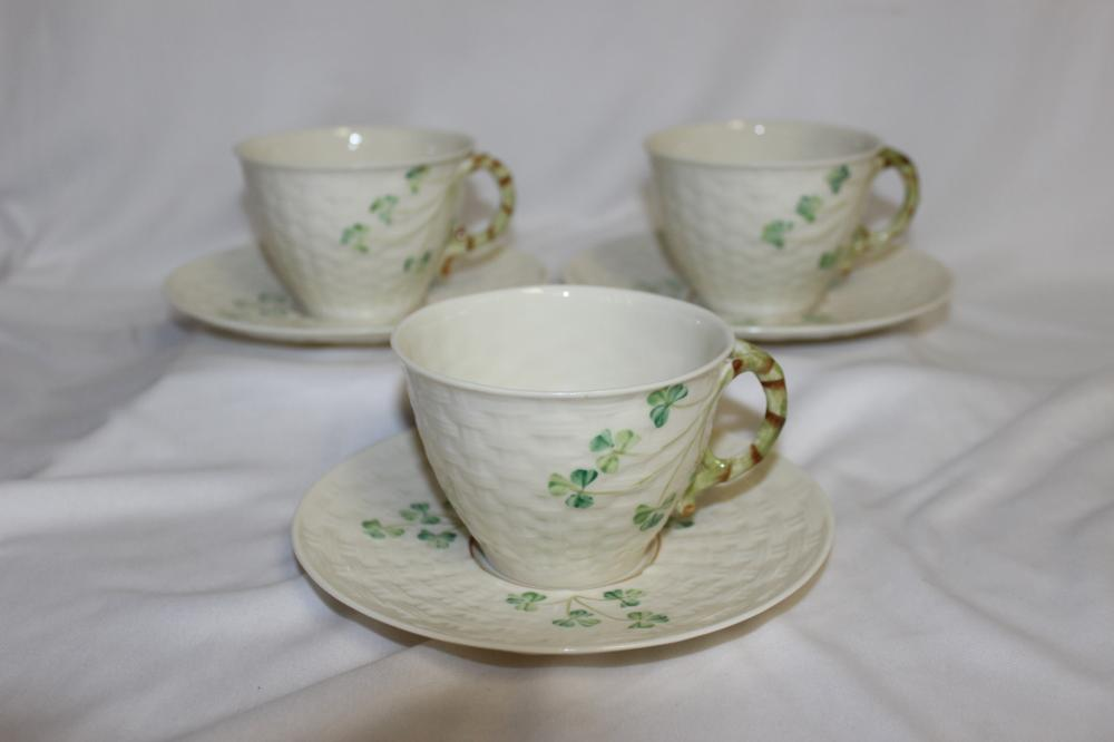 3 Sets of Beleek Shamrock Cup and Saucer