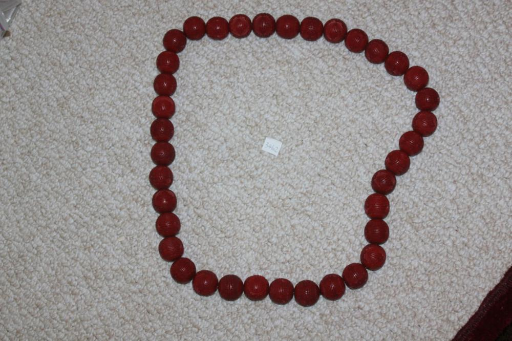 Antique / Vintage Large Chinese Cinnabar Circular Necklace