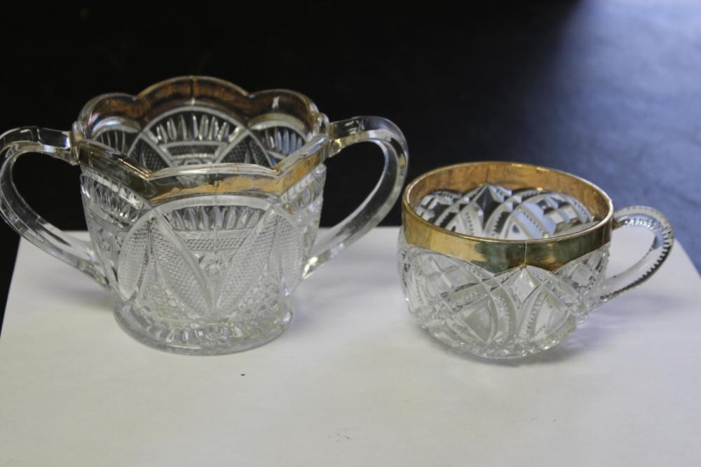 Lot of 2 Pressed Glass Cups