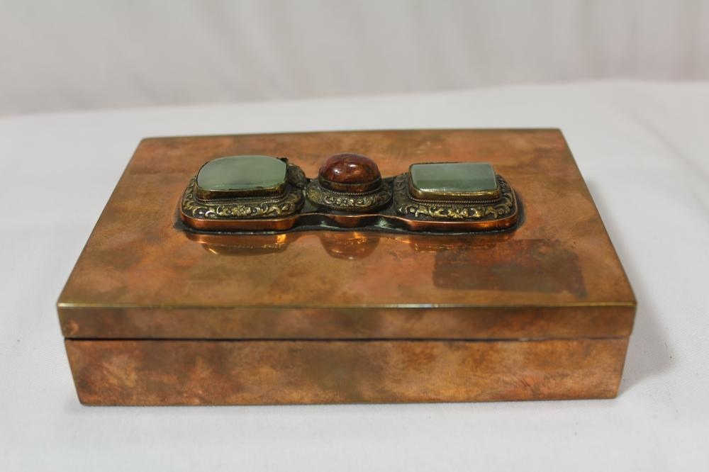 A Jade or Hardstone and Copper Box