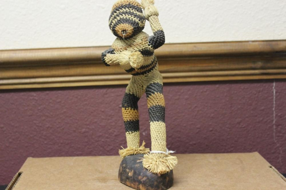 A Wooden/Rattan Monkey Statue on Stand
