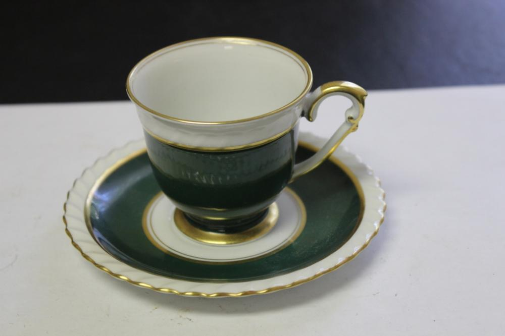 A Franconia Krautheim Selb Bavaria Cup and Saucer - Teal Pattern