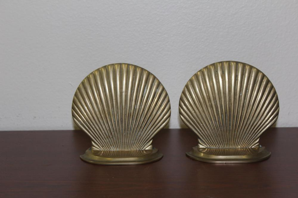 Set of Two Shell Form Brass Bookends