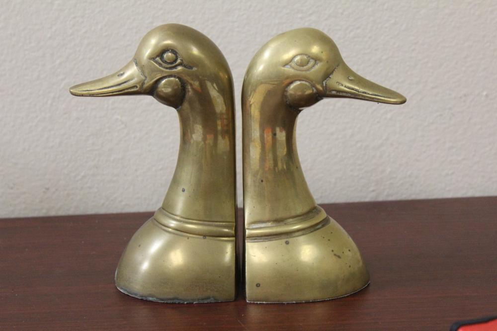 Set of Two Duck Form Brass Bookends