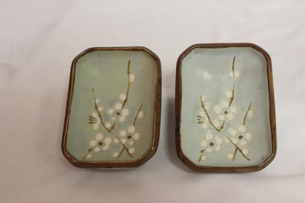 Lot of 2 Japanese Pottery Sauce Dishes