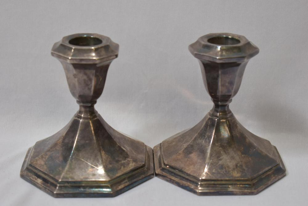Set of 2 Silverplated Heavy Candlesticks
