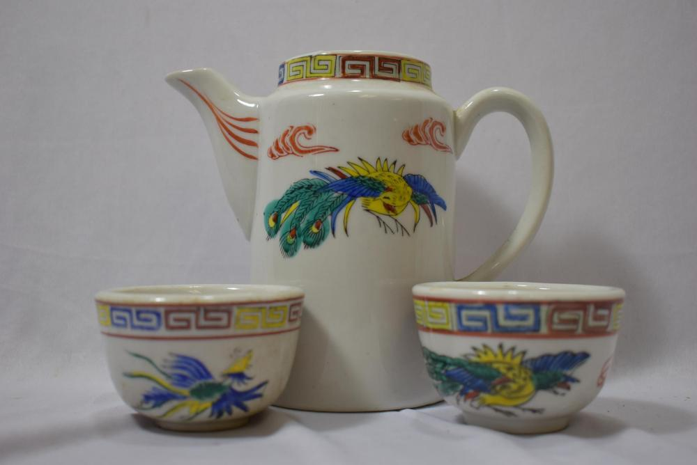 Antique Chinese Teapot and Two Cups