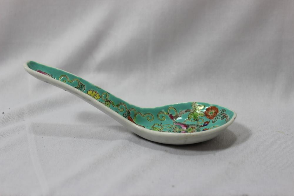 A Chinese Vintage Famille Verte Soup Spoon