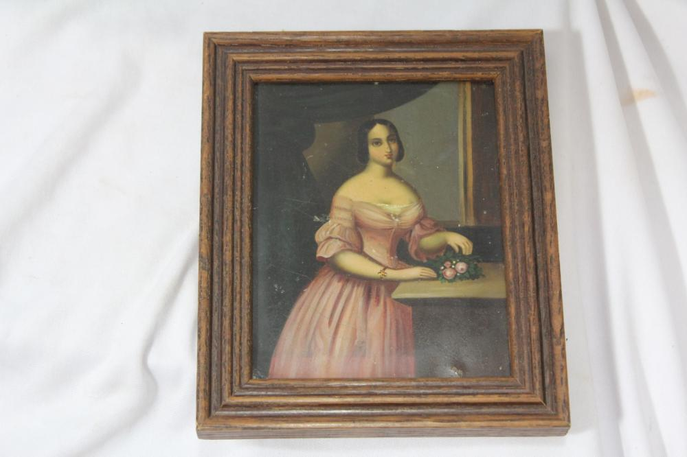 An Oil on Tin Painting of a Lady