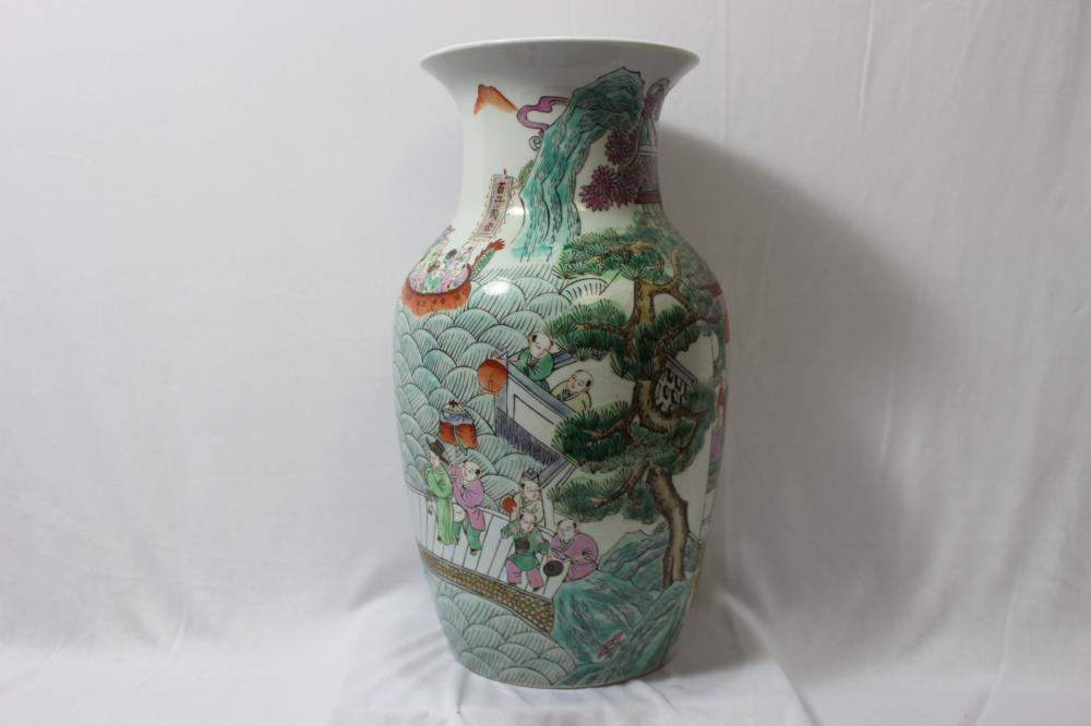 A Signed Chinese Famille Verte Vase