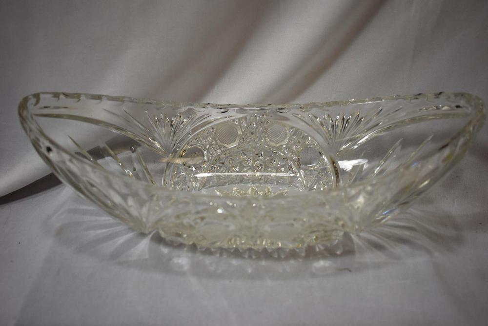 A Cut and Pressed Glass Vegetable Dish