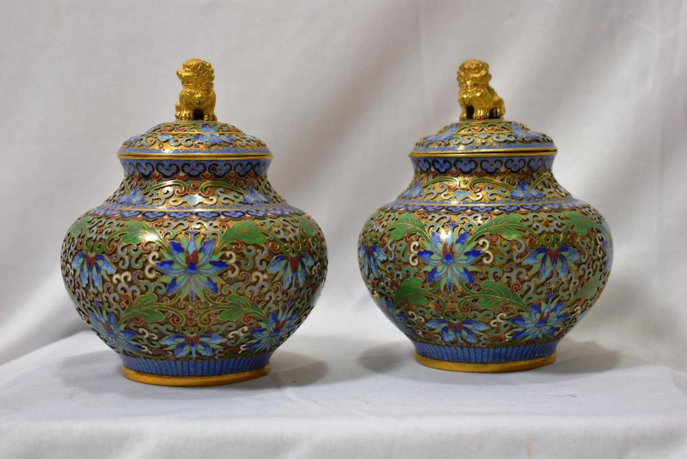 A Pair of Chinese Cloisonne Cover Jar