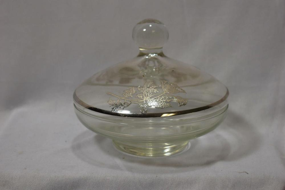 A Silver Overlay Glass Cover Dish