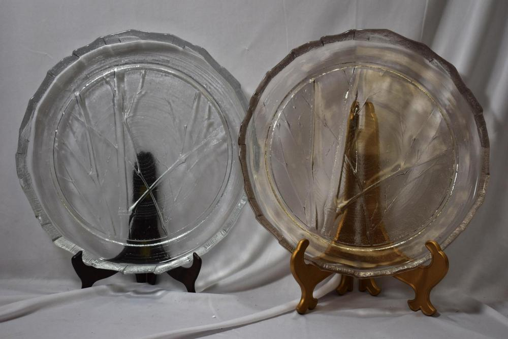 A Set of 2 Clear Pressed Glass Trays