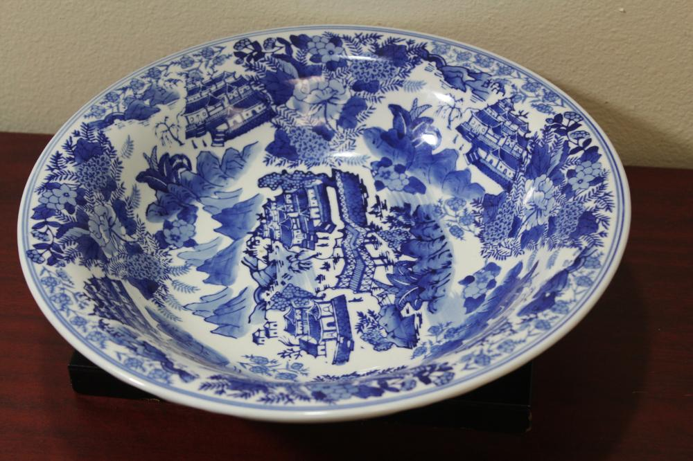 A Large Oriental or Oriental Style Blue and White Bowl