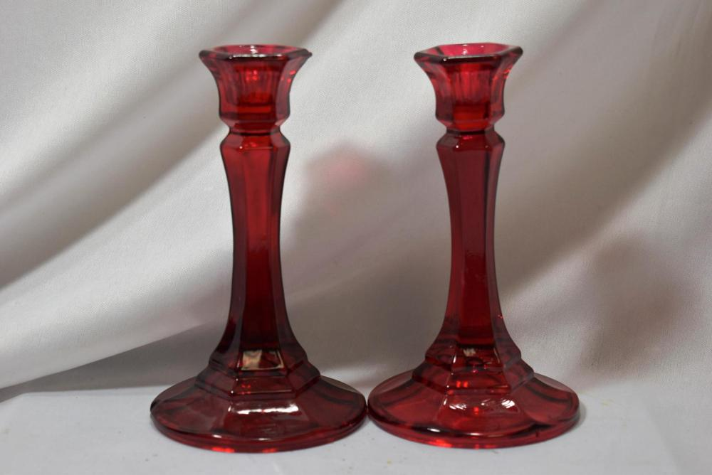 A Ruby Red Glass Pair of Candlesticks