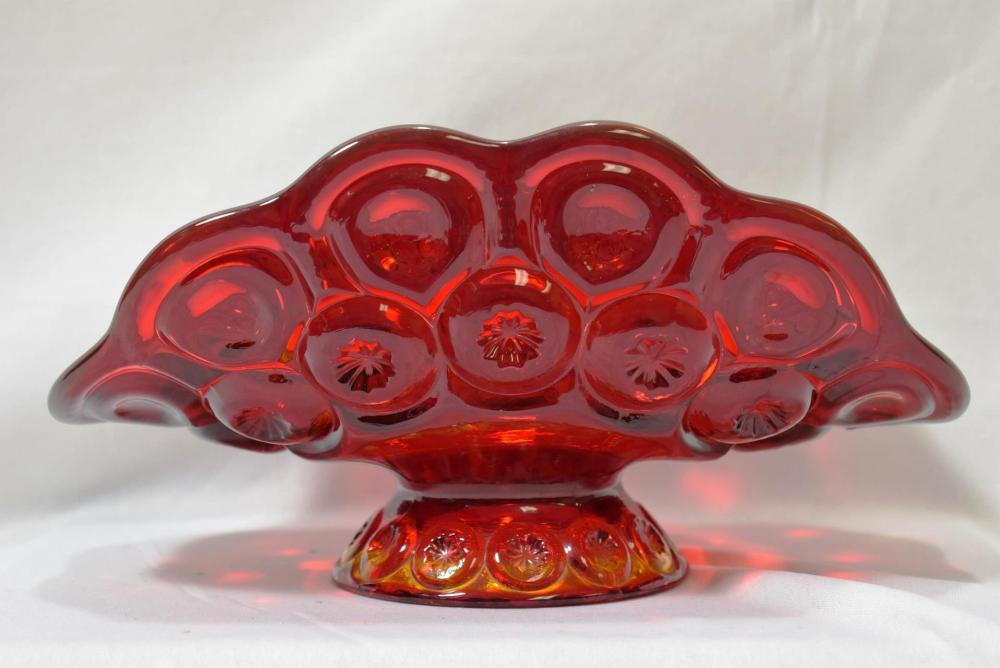 A Ruby Red Glass Elegant Table Fruit Holder