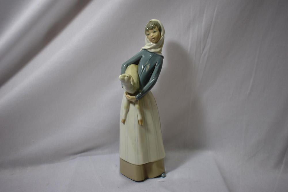 A Girl and Lamb Lladro Figurine