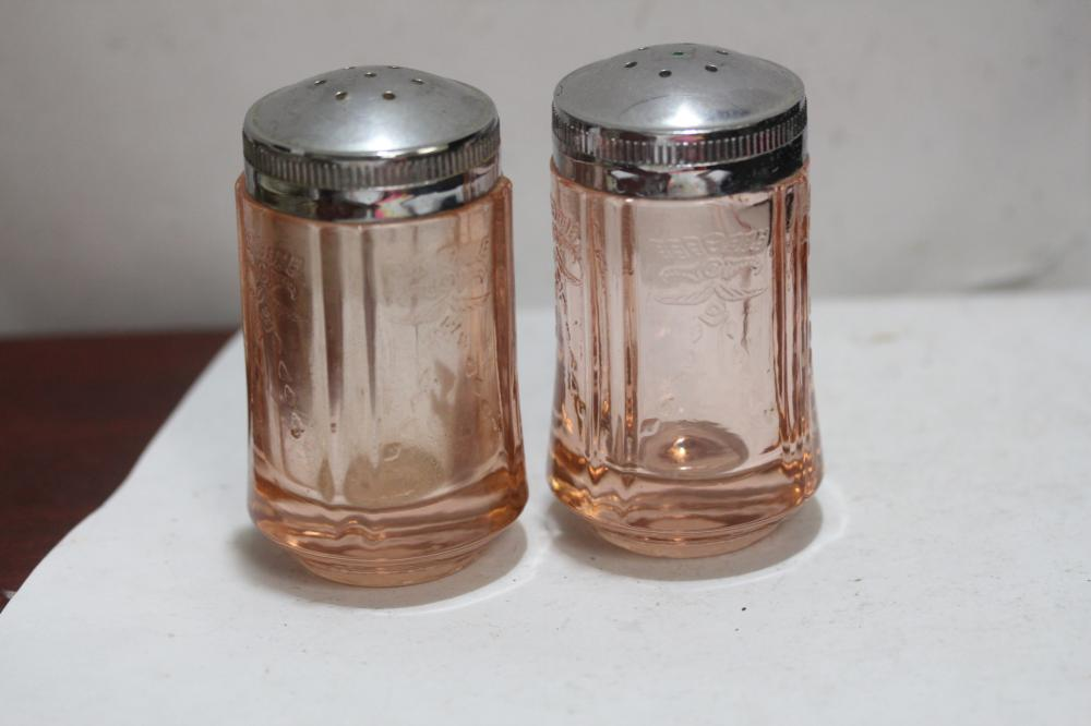 A Pair of Pink Depression Glass Salt and Pepper Shakers