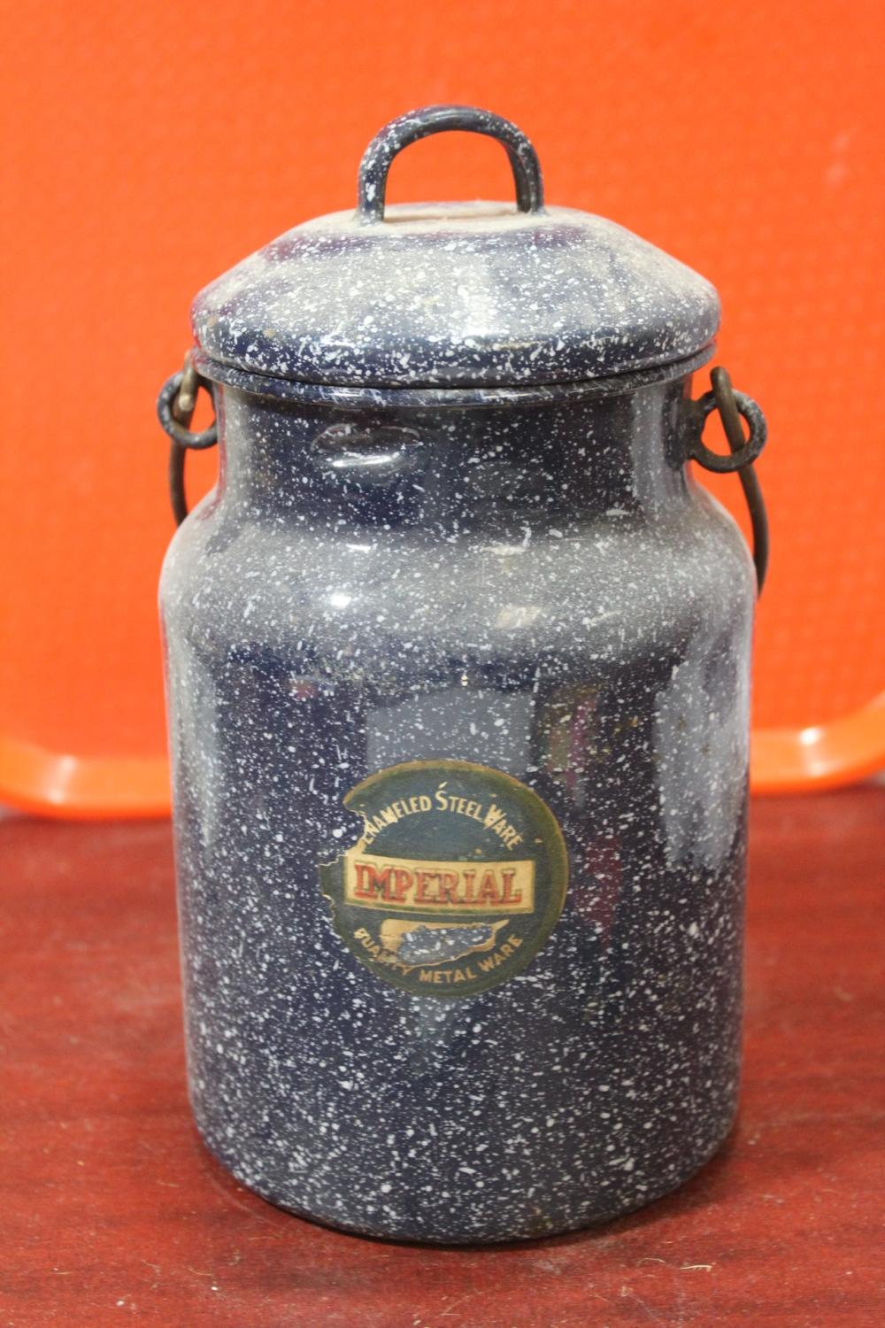 An Imperial Steel Enamel Pot/Container