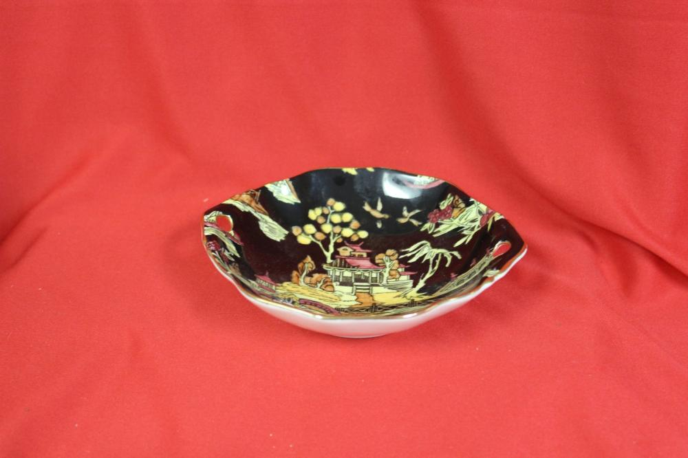 A Royal Winton Black Pekin Two Handle Trinket Bowl