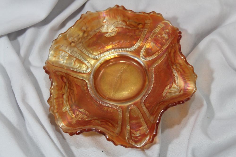 A Sailboat Motif Fenton Carnival Glass Bowl