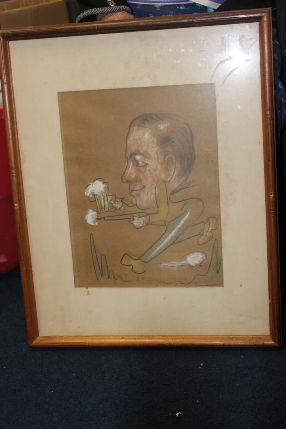 A Charcol / Pastel On Paper - Midcentury