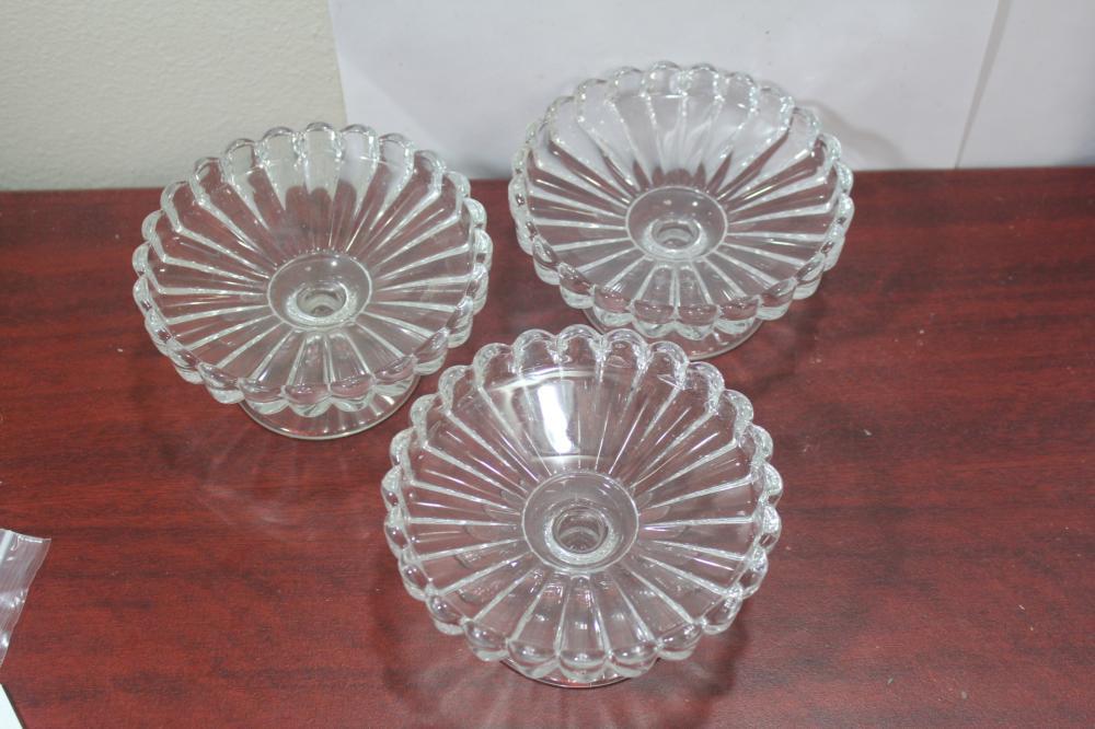 Set of 3 Heisey Crystolite Stem Glass Bowls