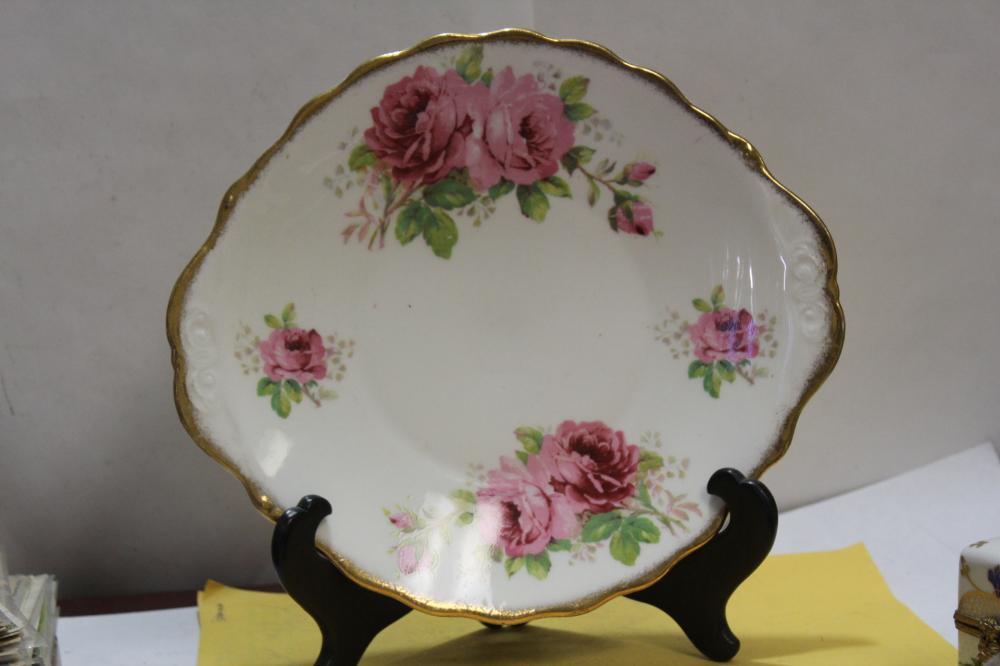 An Antique Royal Albert Porcelain Oval Rose Plate