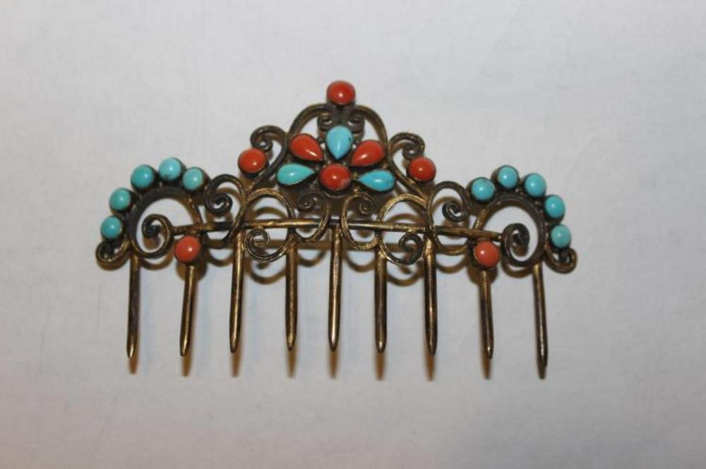 Antique / Vintage Chinese Coral / Turquoise Silver Hair Ornament