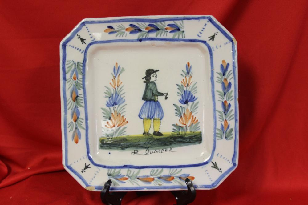 An Old Quimper Square Dish or Plate