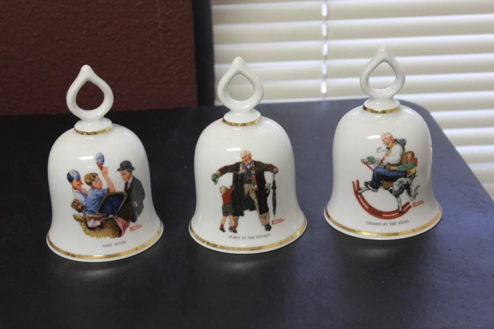 A Lot of 3 Norman Rockwell Danbury Mint Bell