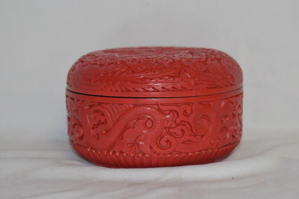 A Cinnabar Resin Round Box
