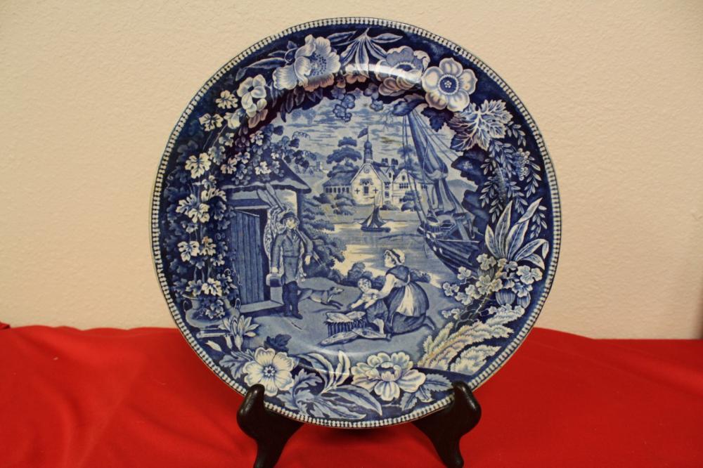 A Vintage Flow Blue Plate