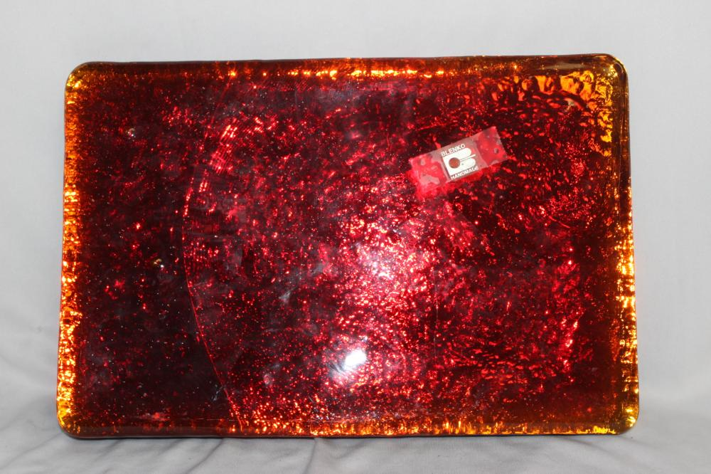 A Handmade Blenko Red or Orange Glass Block