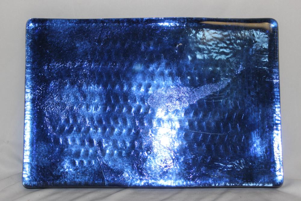 A Handmade Blenko Blue Glass Block