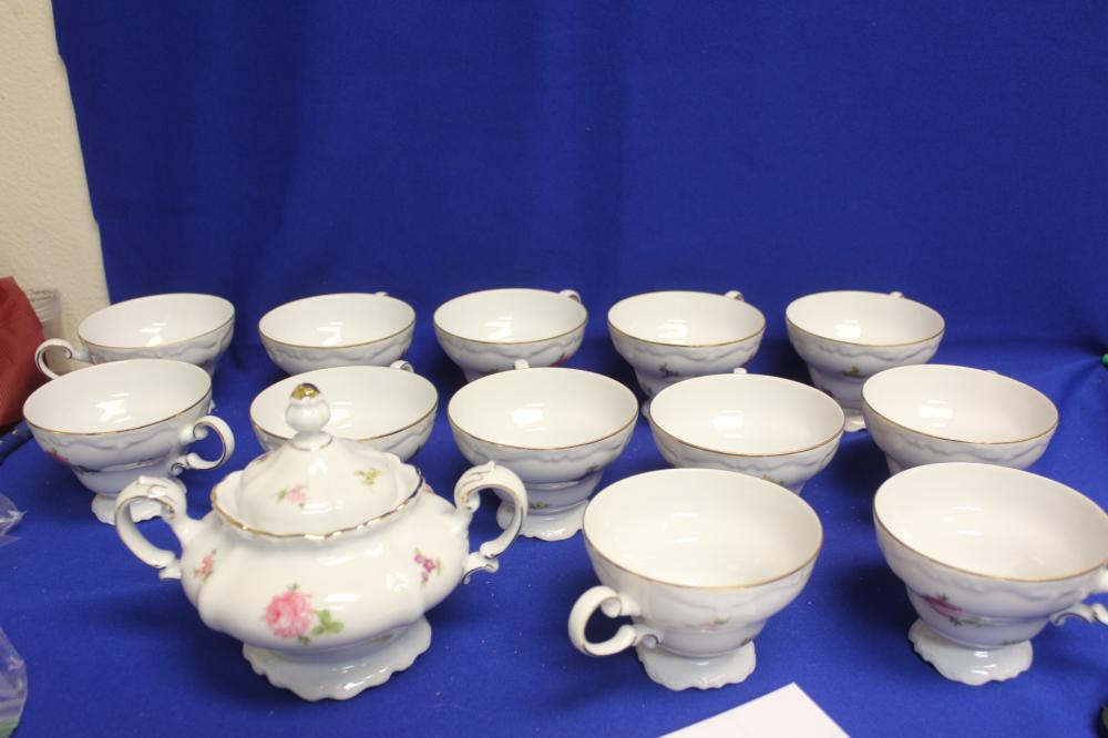 Set of 12 Johann Haviland Cups and Sugar Container