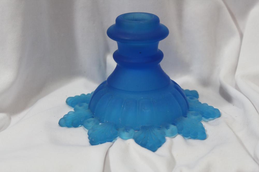 A Satin Cobalt Blue Glass Single Candlestick